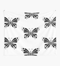 Hypnotic Butterfly B&W - Shee Vector Pattern Wall Tapestry