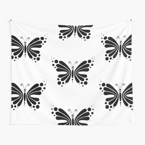 Hypnotic Butterfly B&W - Shee Vector Pattern Tapestry