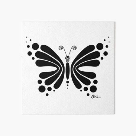 Hypnotic Butterfly B&W - Shee Vector Shape Art Board Print
