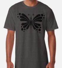 Hypnotic Butterfly B&W - Shee Vector Shape Long T-Shirt
