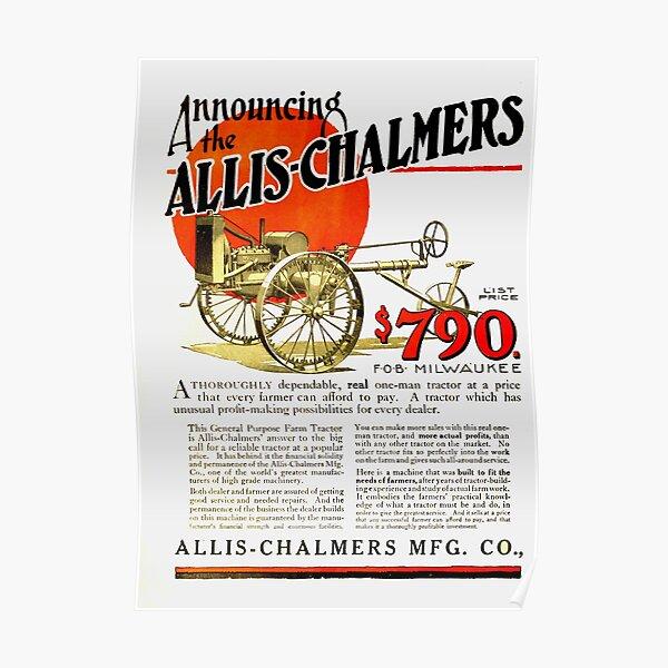 Affiche d'Art publicitaire Vintage Allis Chalmers Poster