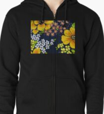 Flower Power 1970s Style #2  Zipped Hoodie
