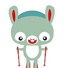 Skiing hare is skiing - cute hare by Kopfzirkus