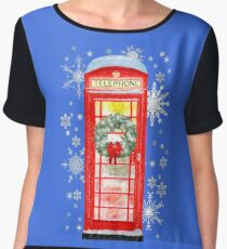 British Red Telephone Box In Falling Christmas Snow Chiffon Top