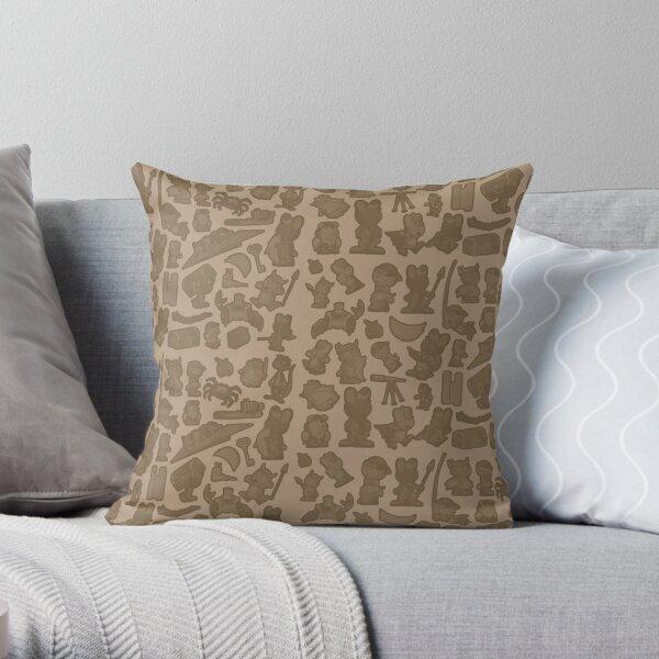 Viking Bunny Map Pattern Throw Pillow