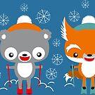 Sweet animals: skiing is fun! by Kopfzirkus