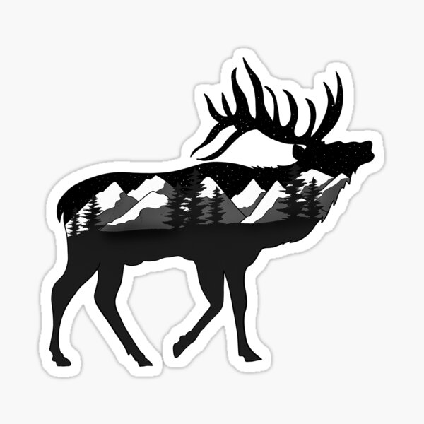 Elk Underneath the Stars Sticker