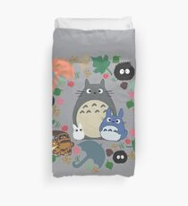 My Neighbor Totoro Wreath - Anime, Catbus, Soot Sprite, Blue Totoro, White Totoro, Mustard, Ochre, Umbrella, Manga, Hayao Miyazaki, Studio Ghibl Duvet Cover