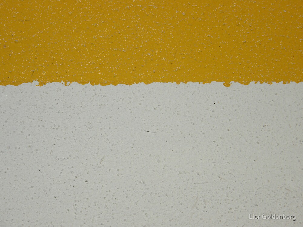 Yellow line on white wall by Lior Goldenberg