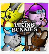 Viking Bunnies Pop Art Poster