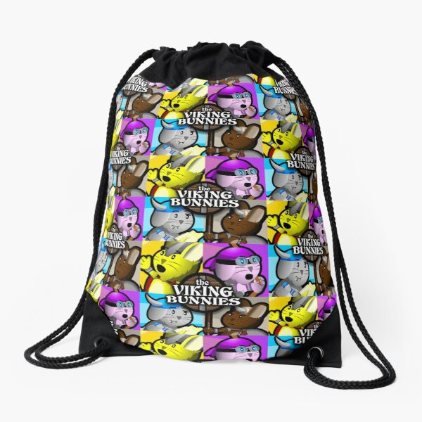 Viking Bunnies Pop Art Drawstring Bag