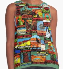 American National Parks Vintage Travel Decal Bomb Sleeveless Top