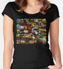 American National Parks Vintage Travel Decal Bomb Women's Fitted Scoop T-Shirt