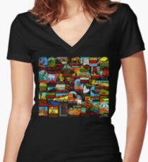 American National Parks Vintage Travel Decal Bomb Women's Fitted V-Neck T-Shirt