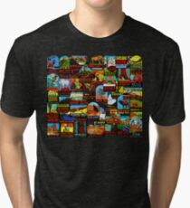 American National Parks Vintage Travel Decal Bomb Tri-blend T-Shirt