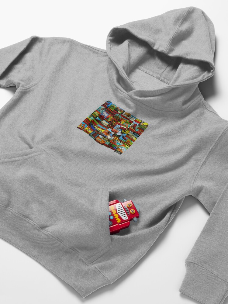 Alternate view of American National Parks Vintage Travel Decal Bomb Kids Pullover Hoodie