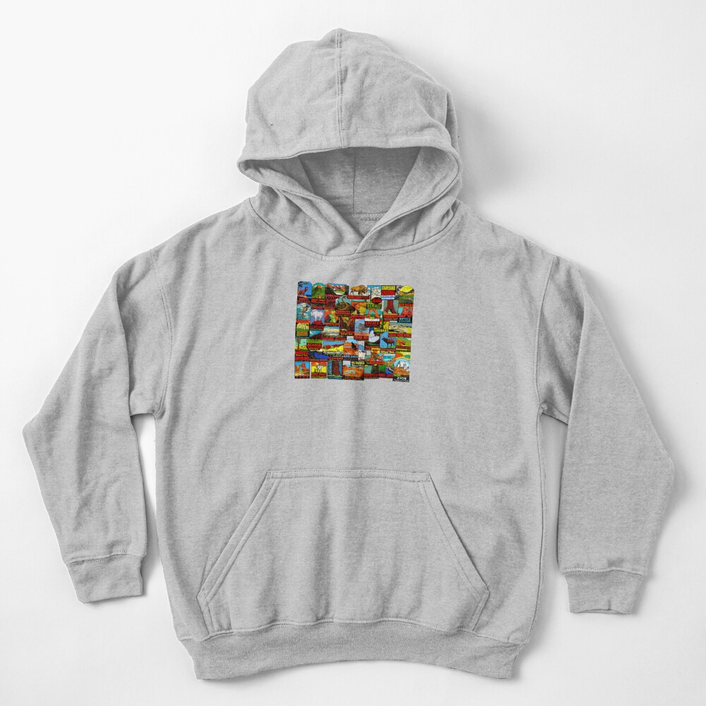 American National Parks Vintage Travel Decal Bomb Kids Pullover Hoodie