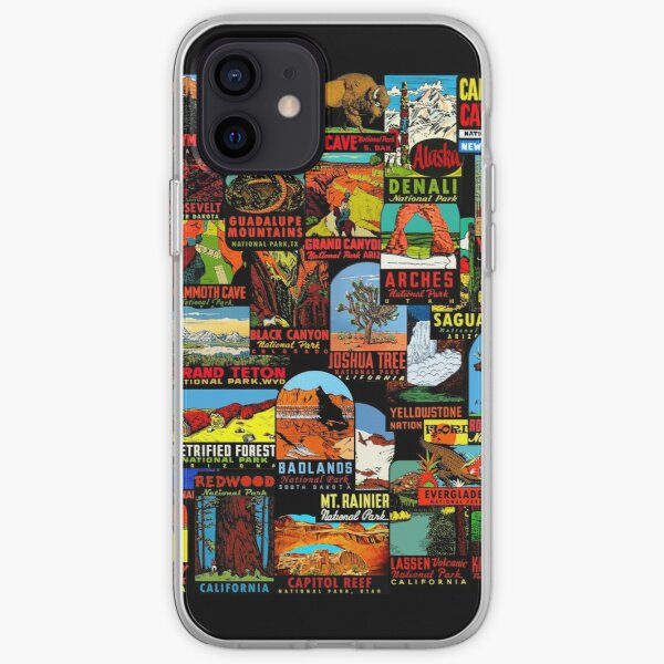 American National Parks Vintage Travel Decal Bomb iPhone Soft Case