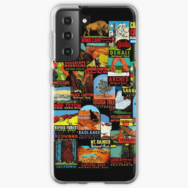American National Parks Vintage Travel Decal Bomb Samsung Galaxy Soft Case