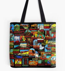 American National Parks Vintage Travel Decal Bomb Tote Bag