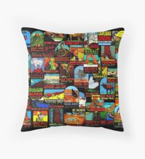 American National Parks Vintage Travel Decal Bomb Throw Pillow