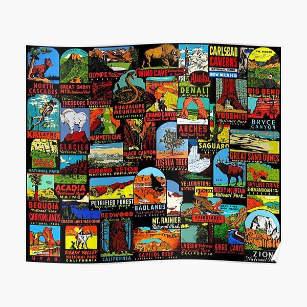 American National Parks Vintage Travel Decal Bomb Poster
