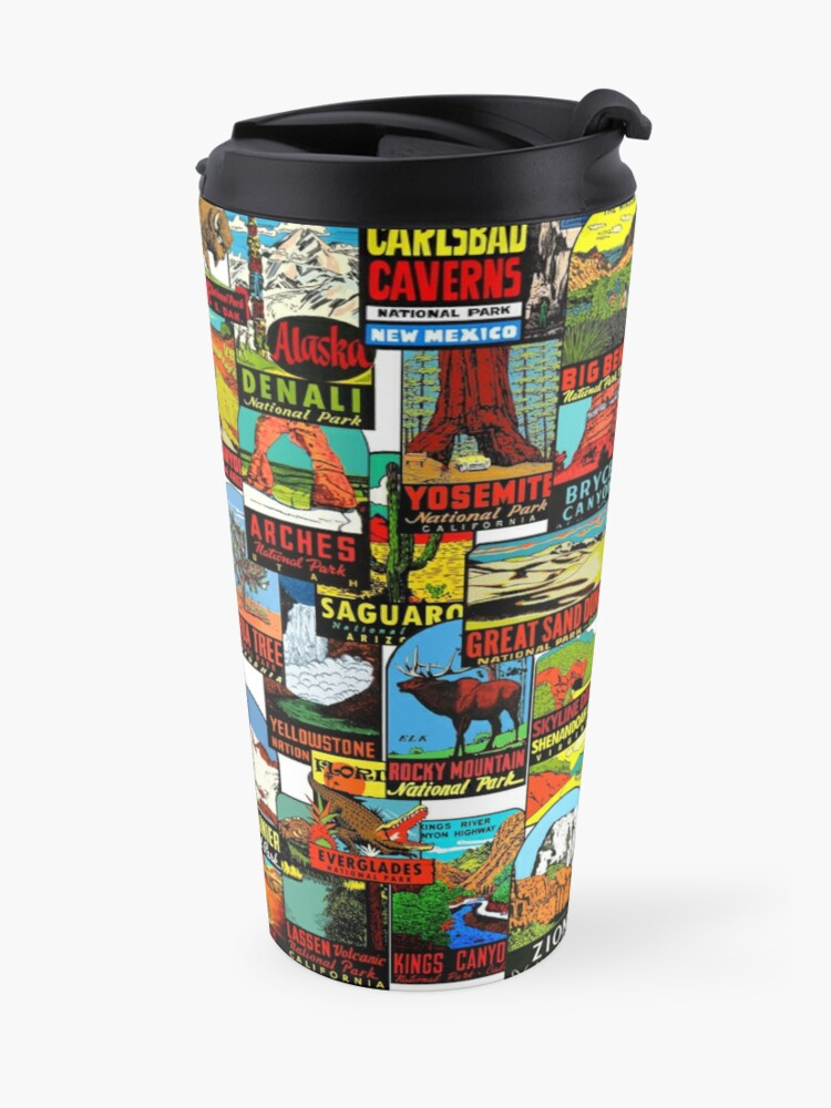 Alternate view of American National Parks Vintage Travel Decal Bomb Travel Mug