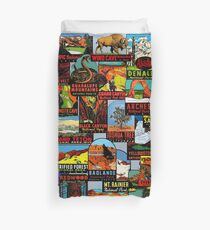 American National Parks Vintage Travel Decal Bomb Duvet Cover