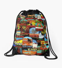 American National Parks Vintage Travel Decal Bomb Drawstring Bag