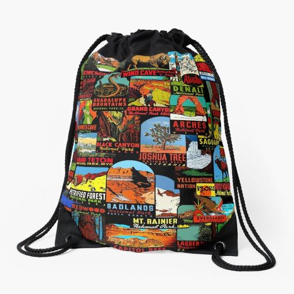 American National Parks Vintage Travel Decal Bomb Drawstring Bag