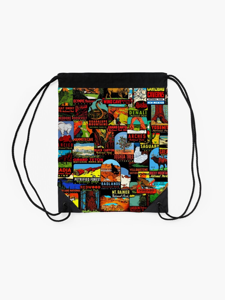 Alternate view of American National Parks Vintage Travel Decal Bomb Drawstring Bag
