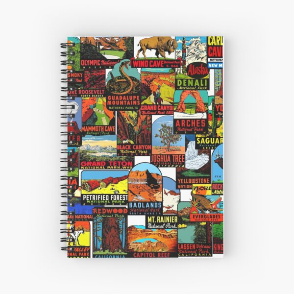 American National Parks Vintage Travel Decal Bomb Spiral Notebook