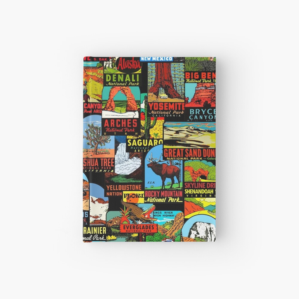 American National Parks Vintage Travel Decal Bomb Hardcover Journal