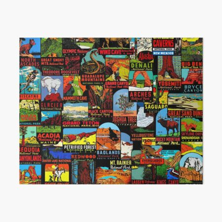 American National Parks Vintage Travel Decal Bomb Art Board Print