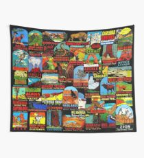 American National Parks Vintage Travel Decal Bomb Wall Tapestry