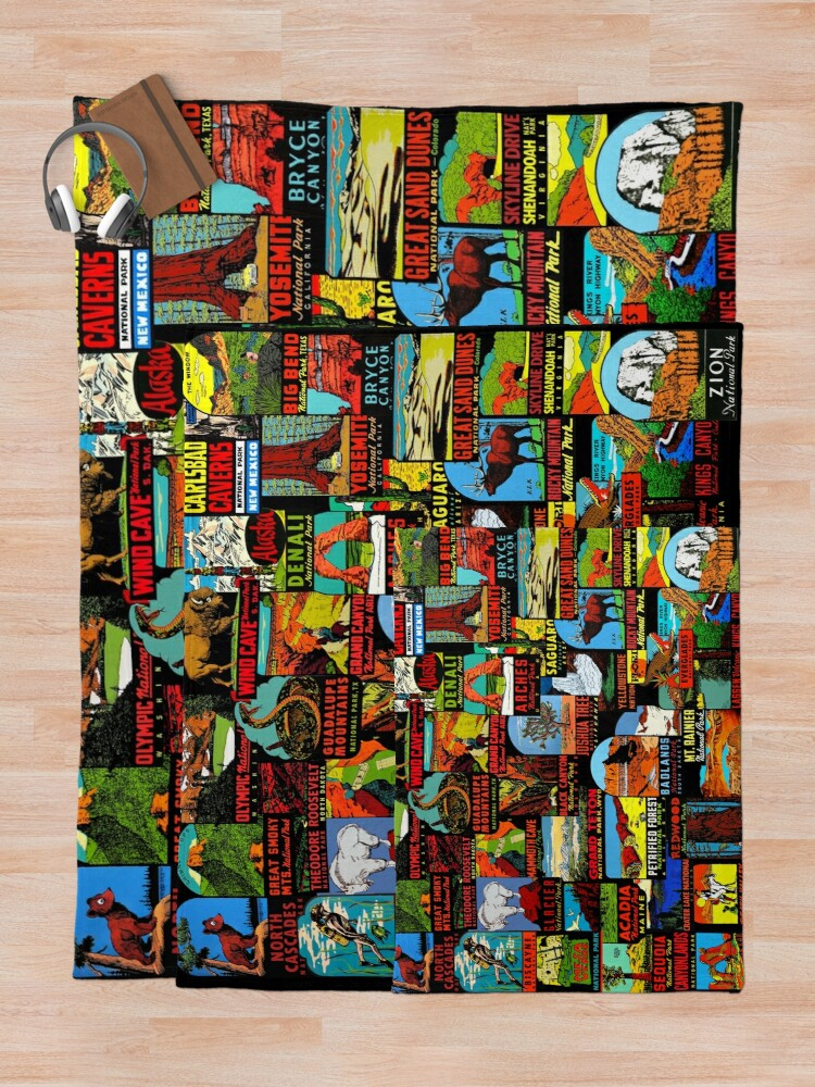 Alternate view of American National Parks Vintage Travel Decal Bomb Throw Blanket