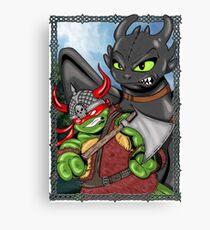 Viking Turtle Traning his Dragon Canvas Print