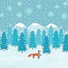 Fox - Winter - Pine Trees by Cristina Bianco Design