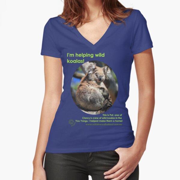 I'm helping wild koalas - Pat Fitted V-Neck T-Shirt