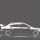 Mitsubishi Evolution - White Print by HoskingInd
