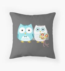 Owls Wedding Bride and Groom Throw Pillow