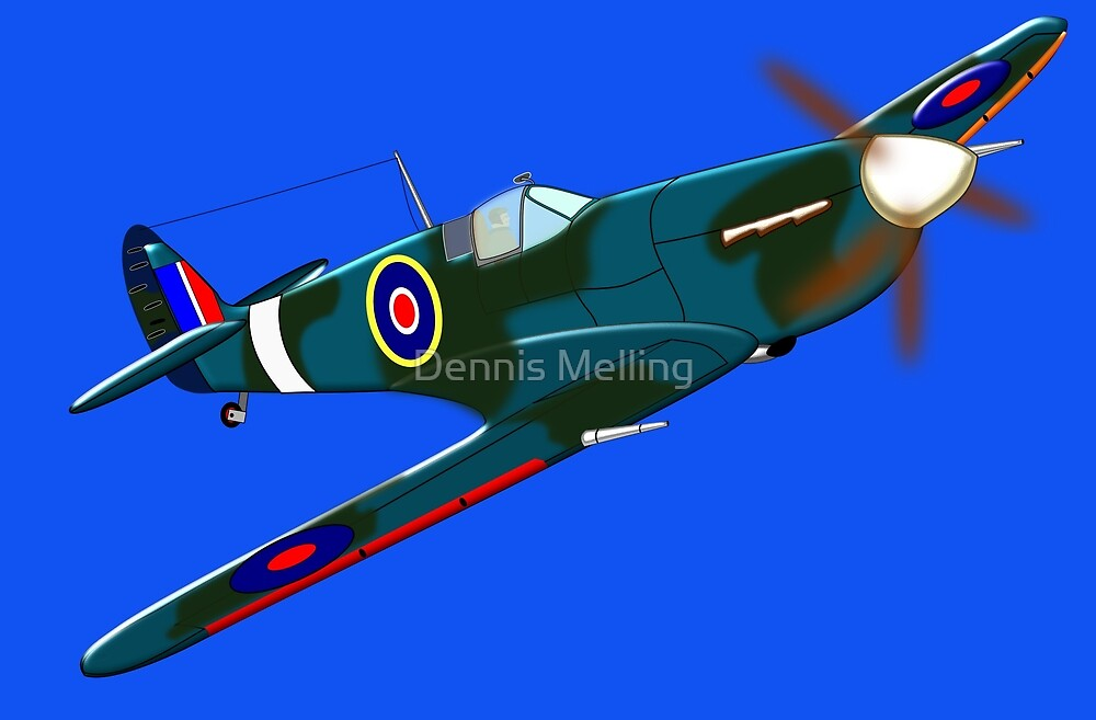 iconic Supermarine Spitfire WW2 by Dennis Melling