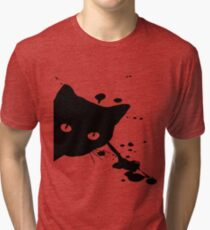 Black Cat Splat Tri-blend T-Shirt