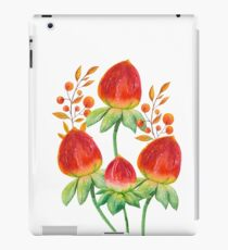 Hand painted orange red green watercolor fall floral iPad Case/Skin