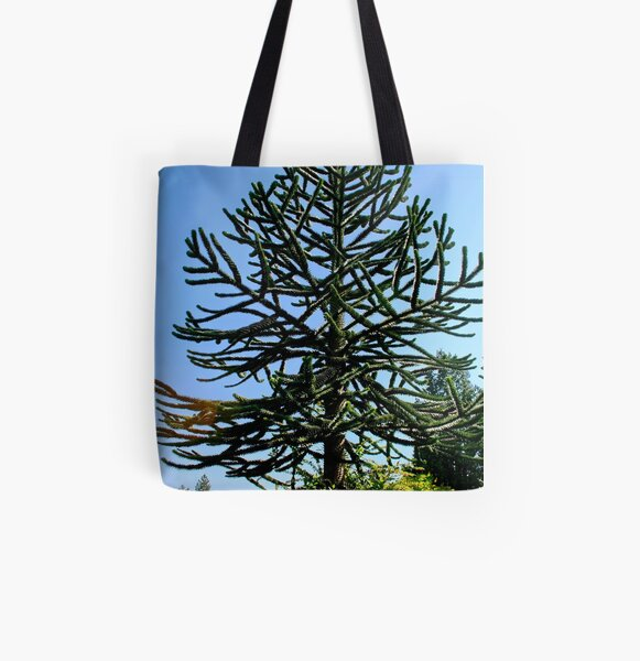 Araucaria araucana (popularly called the Monkey-puzzle Tree or Monkey Tail Tree) All Over Print Tote Bag