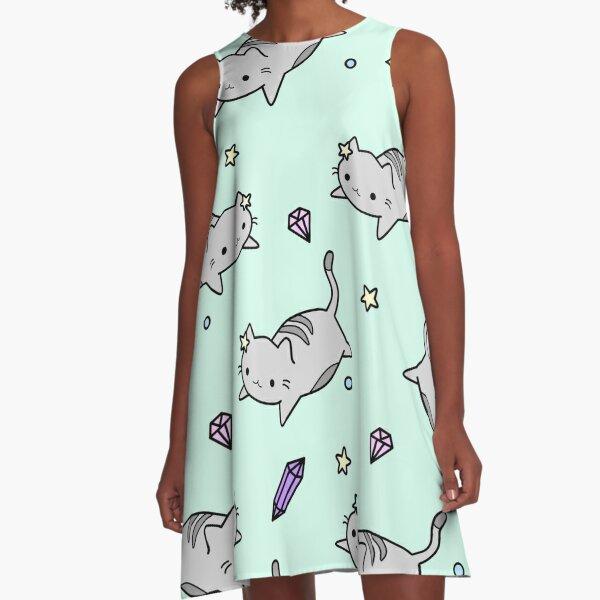 Cute Kawaii Cat Pattern A-Line Dress