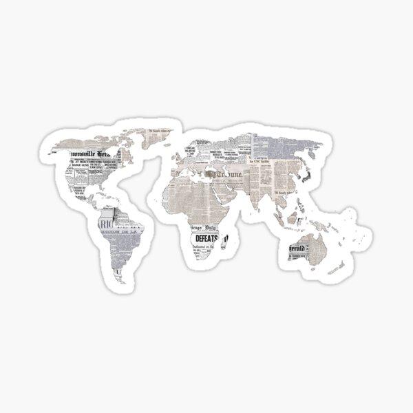 Newspaper World Map Sticker