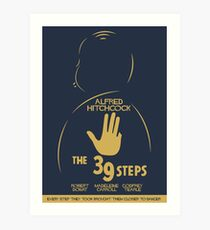 The 39 steps, Alfred Hitchock, movie poster, Thriller, classic movie, classic film, old movie Art Print