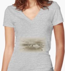 Faded Reflections  Women's Fitted V-Neck T-Shirt