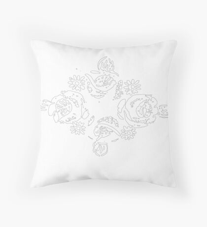 Canal flowers black & white sketch Throw Pillow